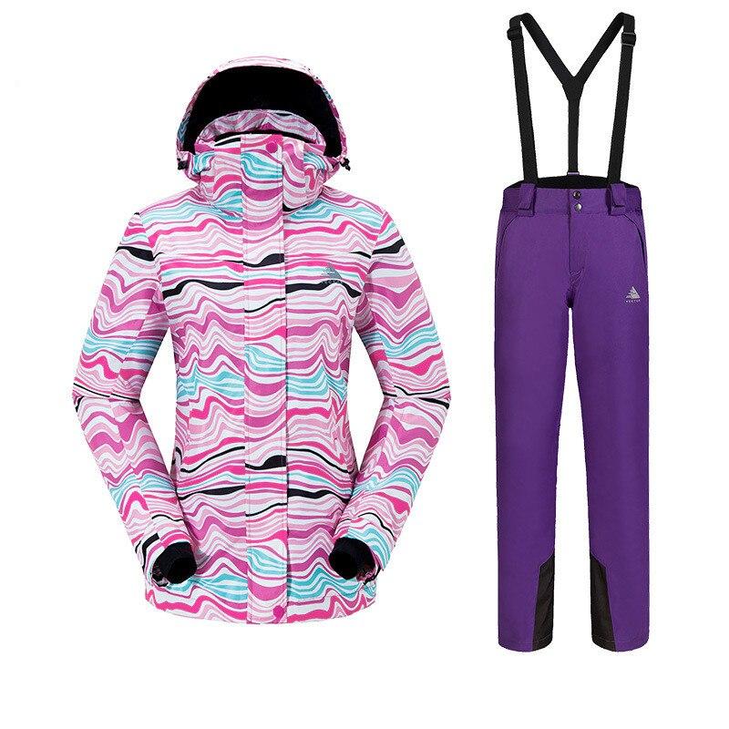 Outdoor Sport vrouwen Skipak Verdikte Warm Ademend Waterdicht slijtvaste Sneldrogende ski Jas + Ski Broek size S XXL - 5