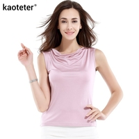 100 Pure Silk Women S Tank Tops Femme Solid Loose Women Fashion Sleeveless Shirt Ladies Cool