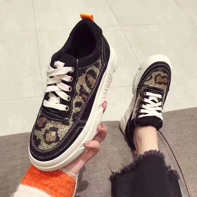 Suede 2018 Haute Sneakers Aransue Casual Femmes forme Qualité Chaussures Vulcanisé Scarpe Bling Colour De Dames Pompes leopard Porc Donna Print Plate trxsCQBhdo