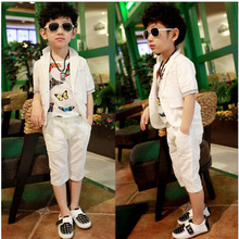 hot deal buy clothing set new summer boys suits baby summer short-sleeved suit pants 3pc/ sets children clothing