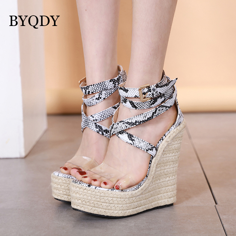 BYQDY Summer Transparent Cross Strap Platform Wedges Sandals Women Height Increasing Wild Snake Print Female Shoes Size 40