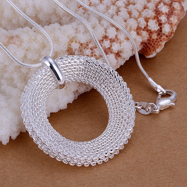Round Pendants 925 stamped silver plated necklaces Colar de Prata 20'' snake chains For Woman Valentine's Day Gift