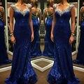 Bling Bling V Neck sereia lantejoulas frisado azul Prom vestidos longos 2016 Peplum vestido Backless tribunal trem 041294