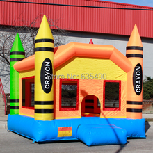 PVC4x3.7m tarpaulin inflatable bouncers with slide for kids and baby