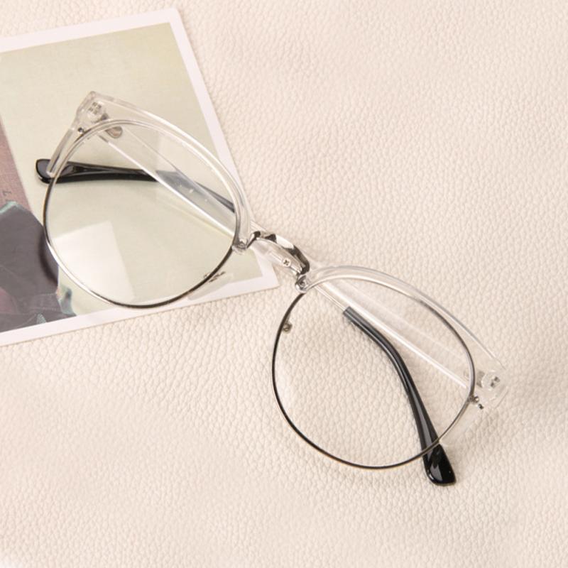 Anti-Radiation Goggles Plain Glass Spectacles Fashion Women Metal+Plastic Semi Circle Frame Glasses