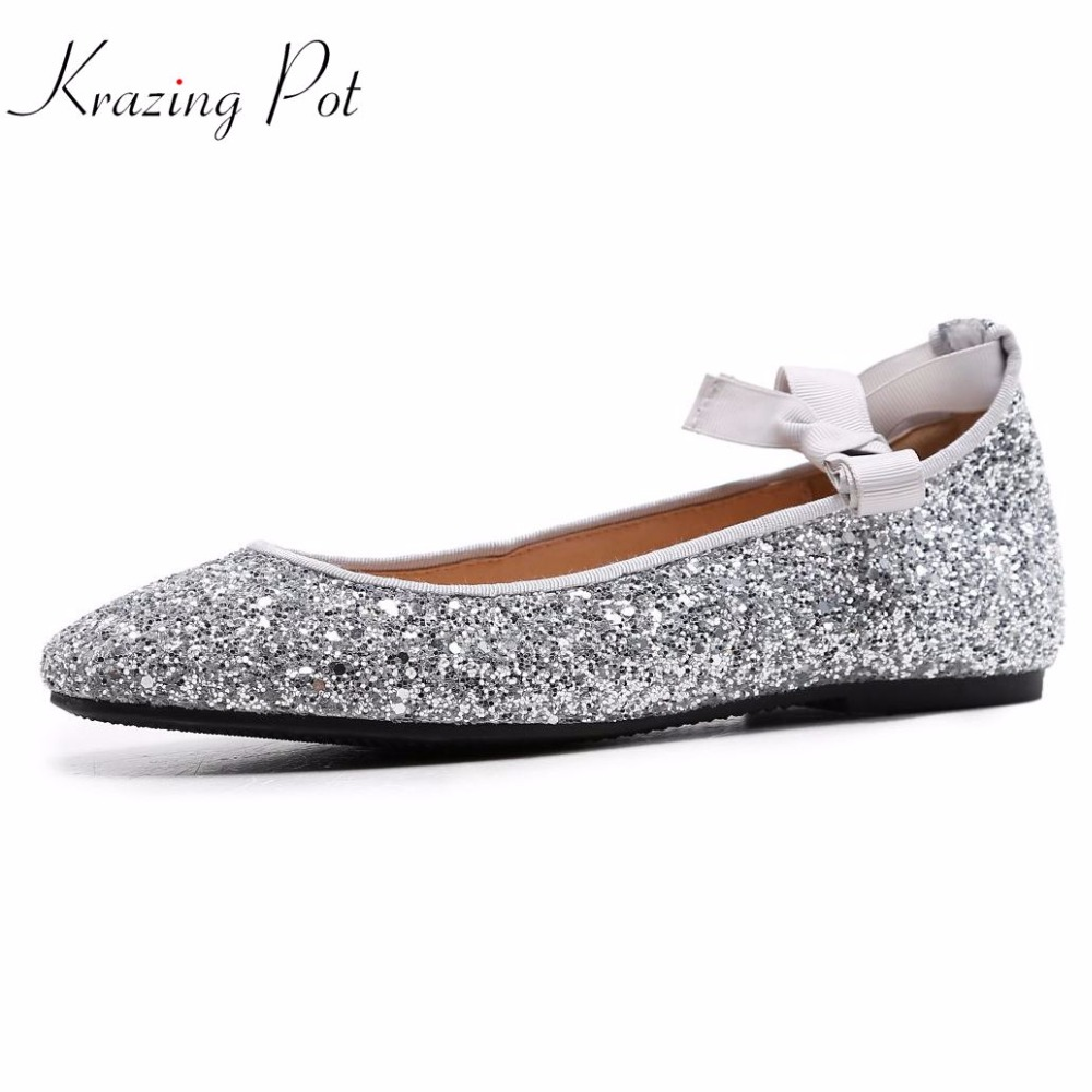 2019 fashion flats round toe superstar sweet sequined colth shallow dance ballet women shoes ankle lace