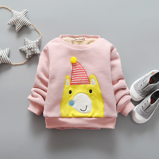 New Arrival Children Casual Hoodies Boys Warm Sweatshirts Long Sleeve Cotton Baby Girls Cute Sweater Kids Top Clothes, 4 Colors