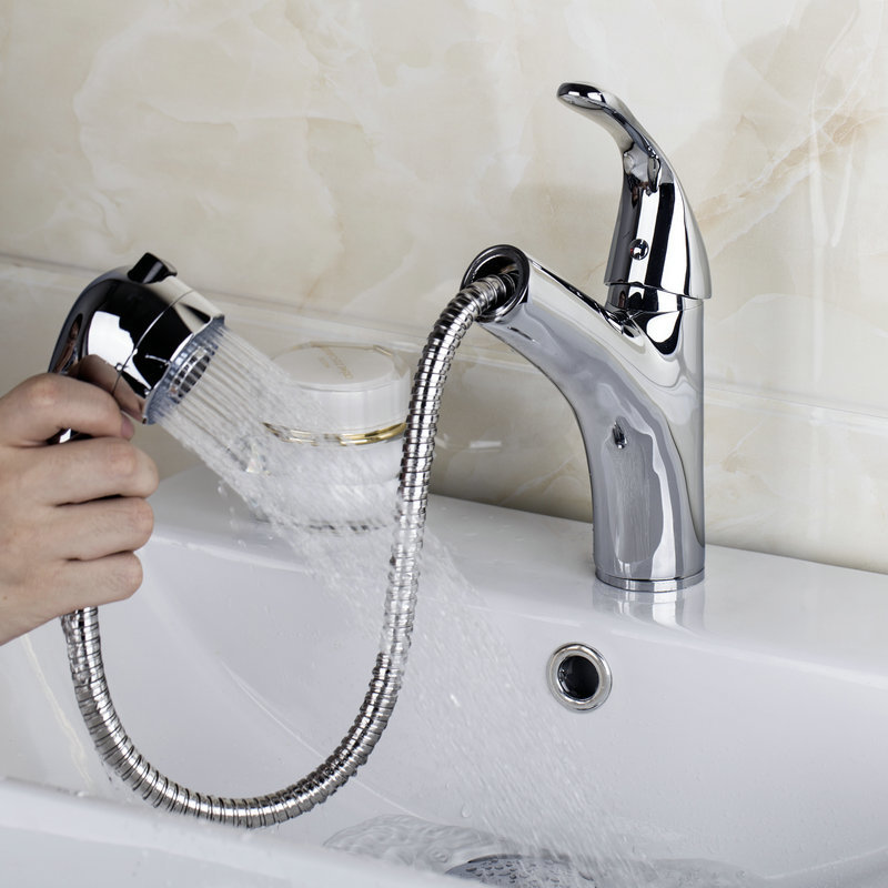 92418 8 Polished Chrome Waterfall Bathroom Basin Faucet Single Handle Sink Pull Down Mixer Tap New