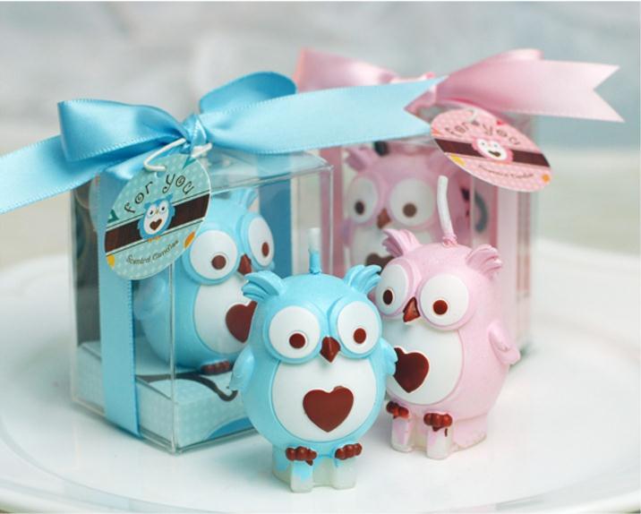 100 pcs/lot livraison gratuite bébé douche faveurs anniversaire partie hibou bougie cadeaux de mariage fête décoration lin4555