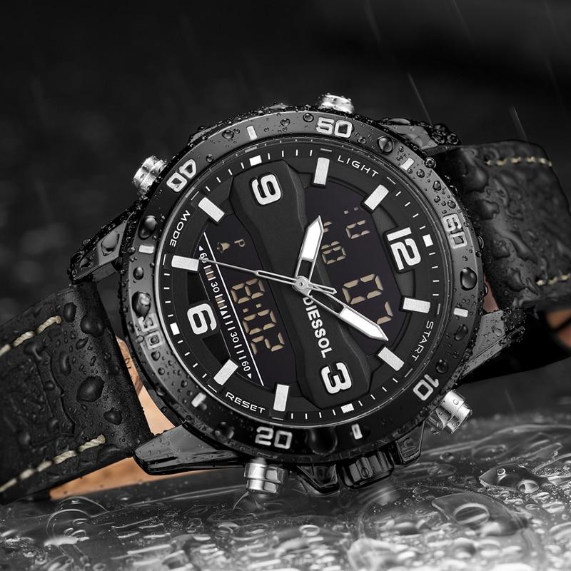 DIESSOL Mode Sport montres homme Top Marque De Luxe Quartz led montre digitale Hommes En Cuir montre waterproof Relogio Masculino-in Montres à quartz from Montres    3