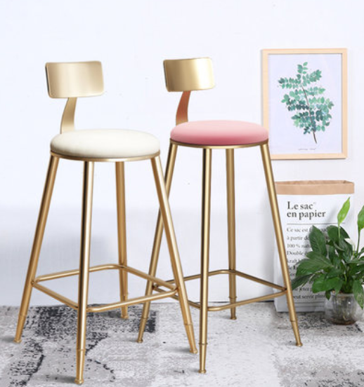 H 1pcs Pink Nordic Golden Metal High Feet Bar Chair Casual Stool Simple Durable Stable Cafe Armchair With Soft Cushion Anti-slip