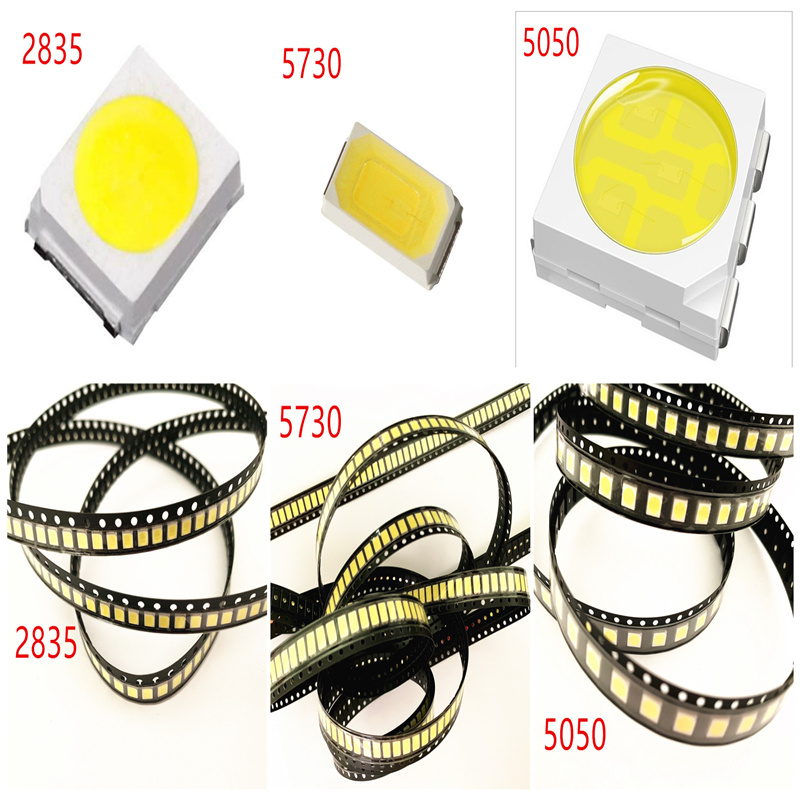 500pcs/lot 0.2W 2835 5050 LED Lamp Bead White/Warm White 0.5W 5730 SMD LED Beads LED Chip DC3.0-3.4V For All Kinds Of LED Light