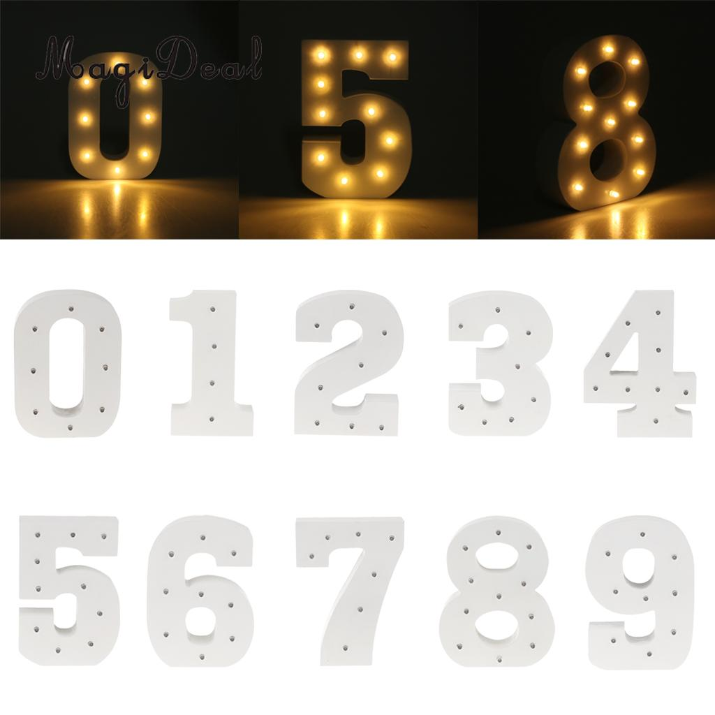 MagiDeal LED Plaque Sign Light Warm White Wedding Party Decor Outdoor Number Lamp Number 0~9