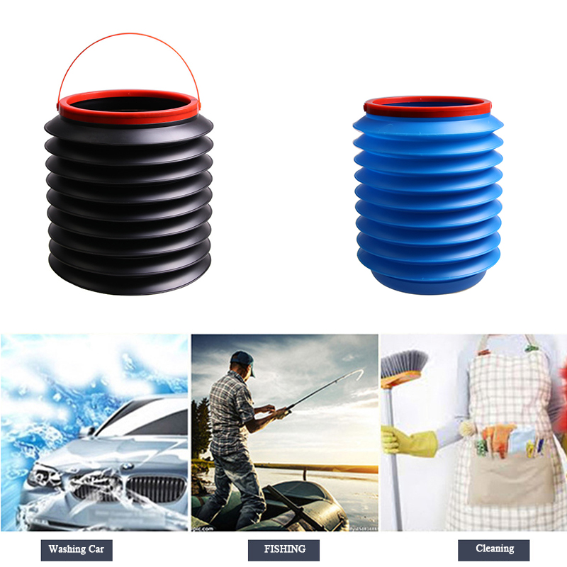 Mini Household Outdoor fRetractable Water Bucket 4L Leak-Proof Folding Storage Bin Multifunctional Foldable Fishing Barrel with Lid One Club Car Portable Telescopic Trash Can