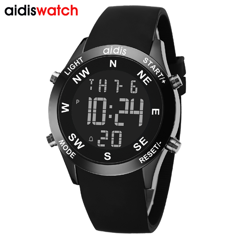 Seven kinds of color Backlit Sports running multi function electronic men watch student children waterproof silicone wrist watch