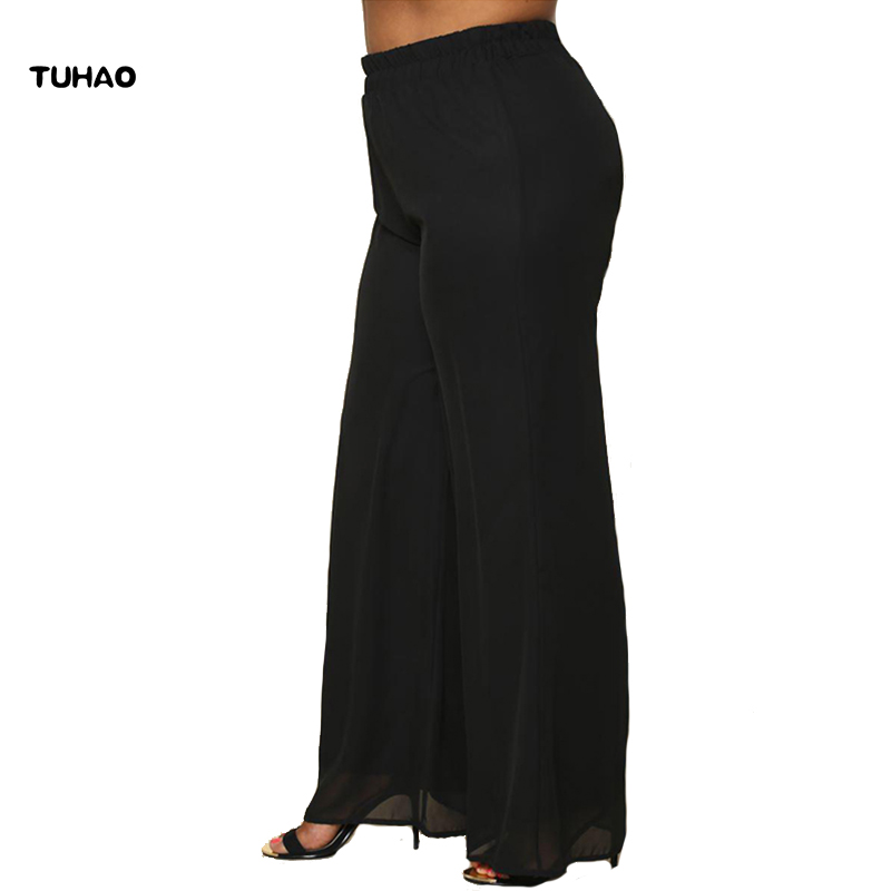 TUHAO 2019 NEW Autumn chiffon   wide     leg     pants   women loose big large size trousers Vintage Elastic Waist Oversized Trousers BC106
