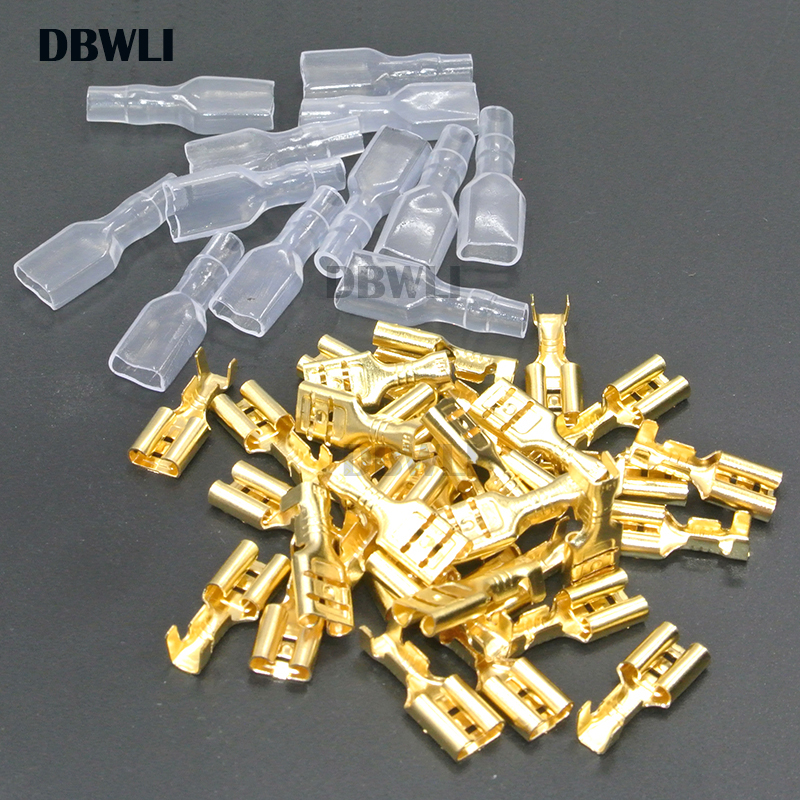 200PCS/100Pairs 2.8mm 4.8mm 6.3mm Female Spade Crimp Terminals Electrical Sleeve Wire Wrap Connector For 22-16 AWG 0.5mm2-1.5mm2