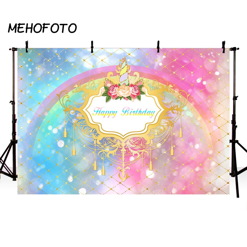 2019 New Style Mehofoto Rainbow Party Backdrops Custom Gold Glitter Birthday Theme Photography Background Baby Cake Table Decor Photo Booth Relieving Heat And Sunstroke Camera & Photo