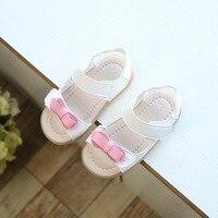 Sandales d'été Pour Les Filles Enfants Princesse Bowtie En Cuir Chaussures Filles Sandales Jaune Blanc Papillon-Noeud Enfant Plage Chaussures Doux semelle