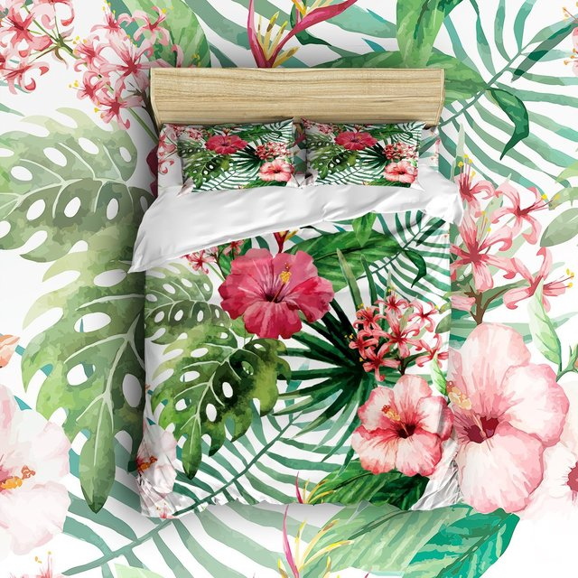 Wonderful 4 Piece Bed Sheets Set Tropical Wild Orchid Flowers With Palm Leaves Print  Exotic Style Nature