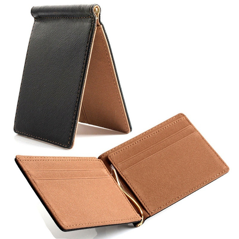Faux Leather Slim Mens Credit Card Wallet Money Clip Contract Color Simple Design Burnished Edges Brand New Men Bifold Wallets