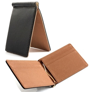 Faux Leather Slim Mens Credit Card Wallet Money Clip Contract Color Simple Design Burnished Edges Brand New Men Bifold Wallets(China)