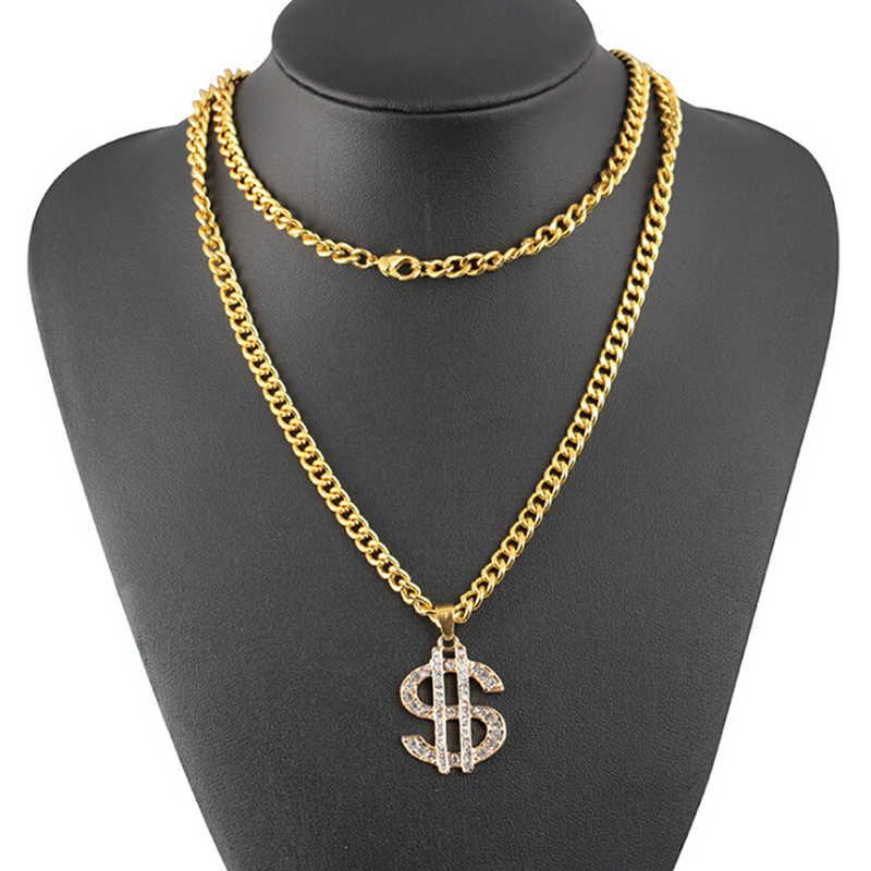 Hip Hop Rap złoty kolor dolar amerykański naszyjnik łańcuszek na akcesoria Hiphop biżuteria pieniądze dla kobiet/mężczyzn błyszczące biżuteryjne