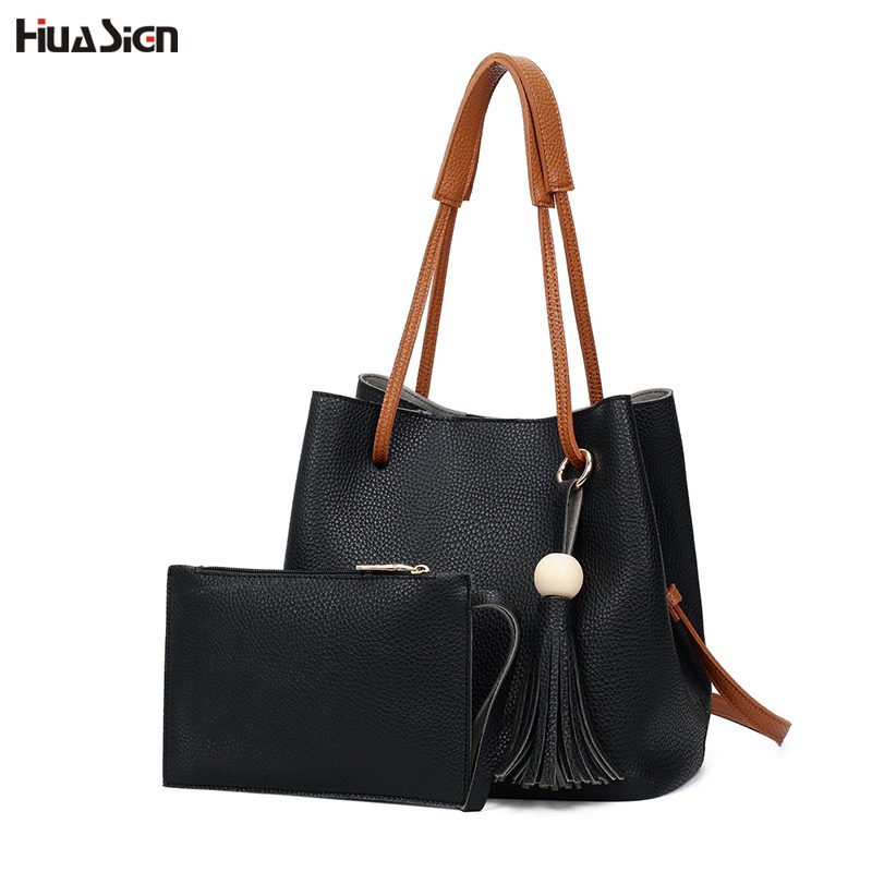Casual Bucket Bag Women Handbag Soft PU Leather Top handle Bag Fashion Tassel Crossbody Bag Shoulder