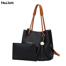 Casual Bucket Bag Women Handbag Soft PU Leather Top-handle Bag Fashion Tassel Crossbody Bag Shoulder Bags