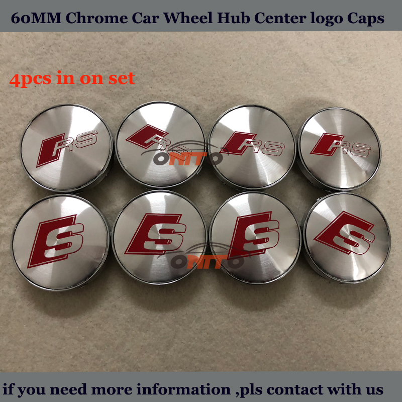 Car emblem Center cap 4pcs 60mm For AUDI A1 A2 A3 A4 A5 A6 A7 A8 Q1 Q3 Q5 Q7 RS Sline logo badge Covers label Car Wheel hub Cap