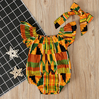 Lue's House Baby Girls Rompers African Print Hair Band Jumpsuits