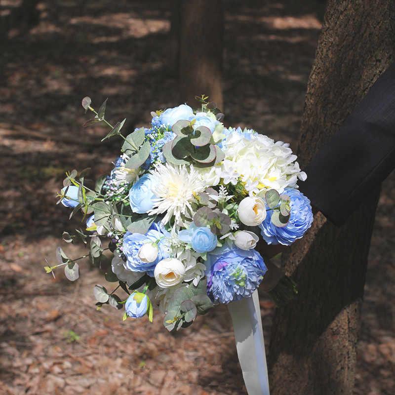 JaneVini خمر الزفاف باقة الأزرق الزفاف الزهور الاصطناعي الأبيض الحرير الورود العروس باقة وهمية الربيع باقة خطاباتخطابهزوجات 2019