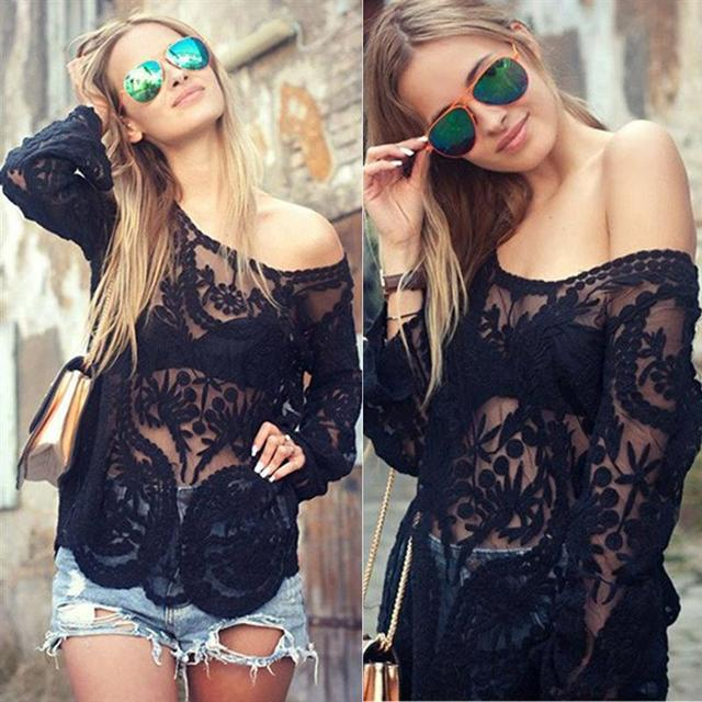 Sexy Lace 2016 Autumn Women Blusas Off Shoulder Crochet Solid Shirts Long Sleeve Slim Casual Basic Tops