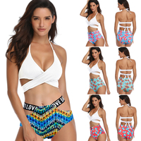 ETCIC Solid Tie Front Tank And Floral High Waisted Bikini Sets 2019 Women Boho Button Two Pieces Swimsuits