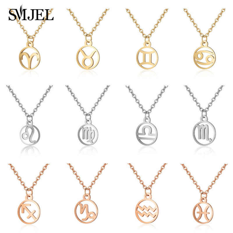 SMJEL Stainless Steel Zodiac Pendant Necklace Astrology Necklace Star Sign 12 Constellation Personalized Jewelry Birthday Gifts