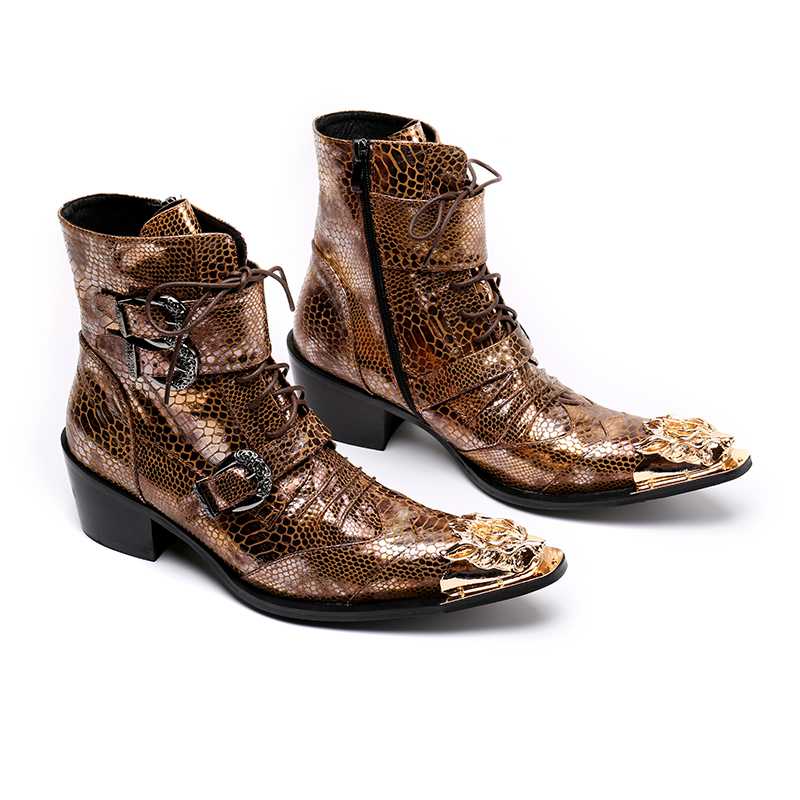 2018 Autumn British Style Men Mid Calf Boots Genuine Leather Motorcycle Cowboy Boots Men Snake Skin Boots Dress Shoes british style splicing and buckle design mid calf boots for men