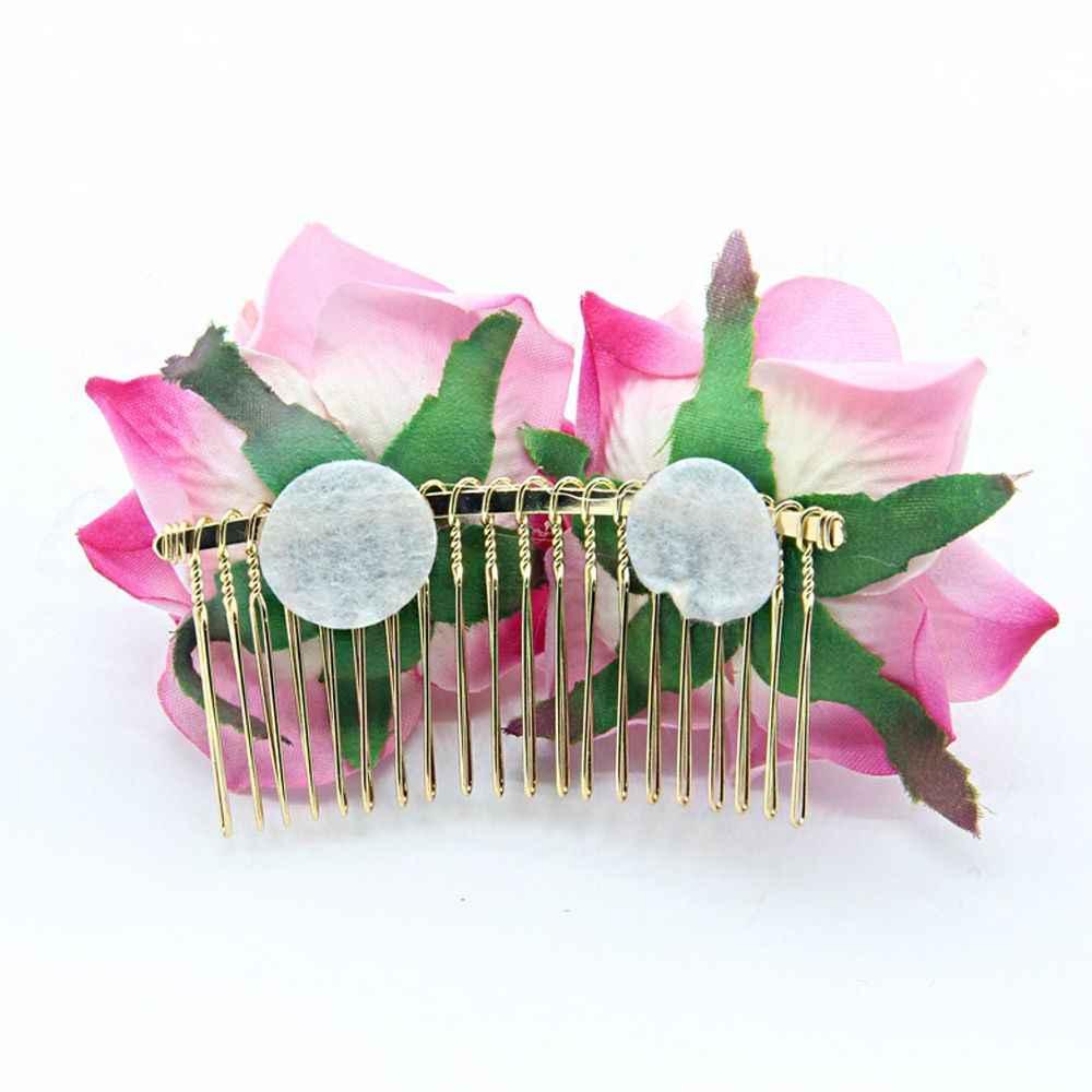 1Pcs Bianco Rosso Fiore di Rosa Dei Capelli Pettini Per La Sposa Fatti A Mano di Modo Dei Monili di Cerimonia Nuziale di Promenade Delle Donne Copricapo Charm Accessori Per Capelli