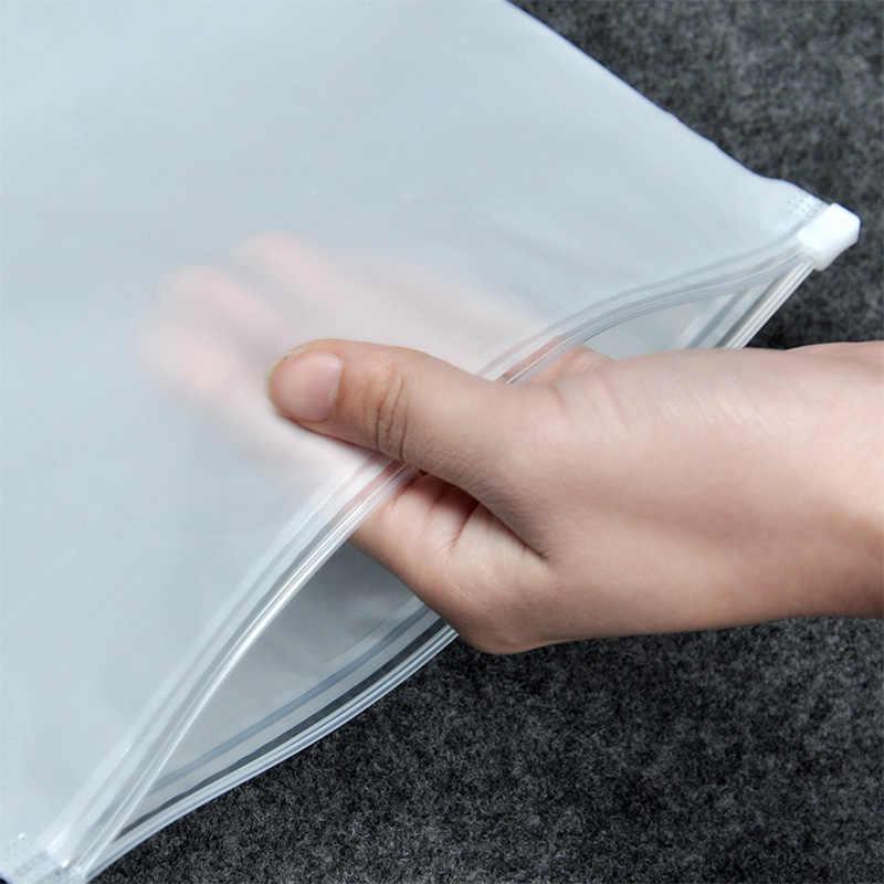 10pcs Convenient Matte Clear Plastic Storage Bag Travel Bags Zip Lock Valve Slide Seal Packing Pouch Bags XH8Z DC19