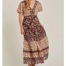 reneesme 2019 new spring summer women dress short sleeve v neck long ladies dresses a line print vintage ankle-length vestidos