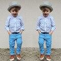 Boy Juegos de Ropa Azul Camisa + Pantalones Vaqueros Largos de Primavera 2 UNIDS Strioed Muchacho de Los Niños Traje De Moda De Estilo 2 T para 6 T