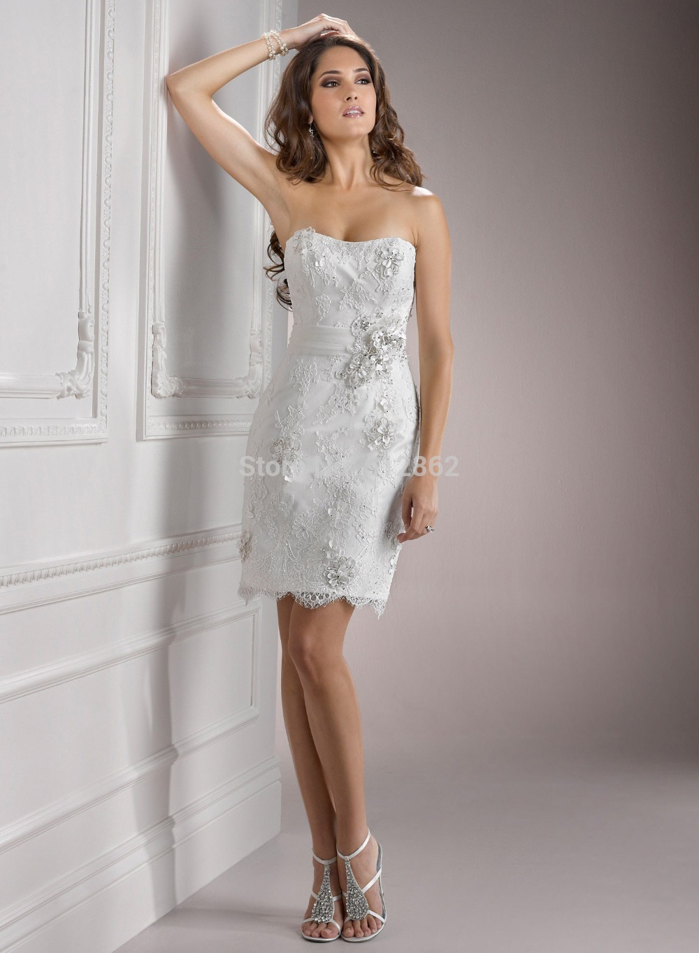 Strapless Sheath Beaded Short White Lace Prom Dress-in ...