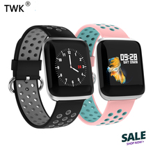 купить TWK 2019 Pink Smart Watch Women Men 24h Heart Rate Blood Pressure Wristband Watches role for iOS Android reloj erkek kol saati онлайн