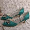 Wedopus MW589 Custom Handmade Kitten Heel Bridal Shoes Wedding Olive Green Peep Toe