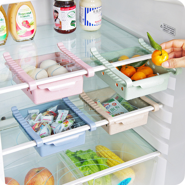 New Kitchen Refrigerator E Saving Storage Rack Fridge Freezer Shelf Holder Pull Out Drawer Organiser