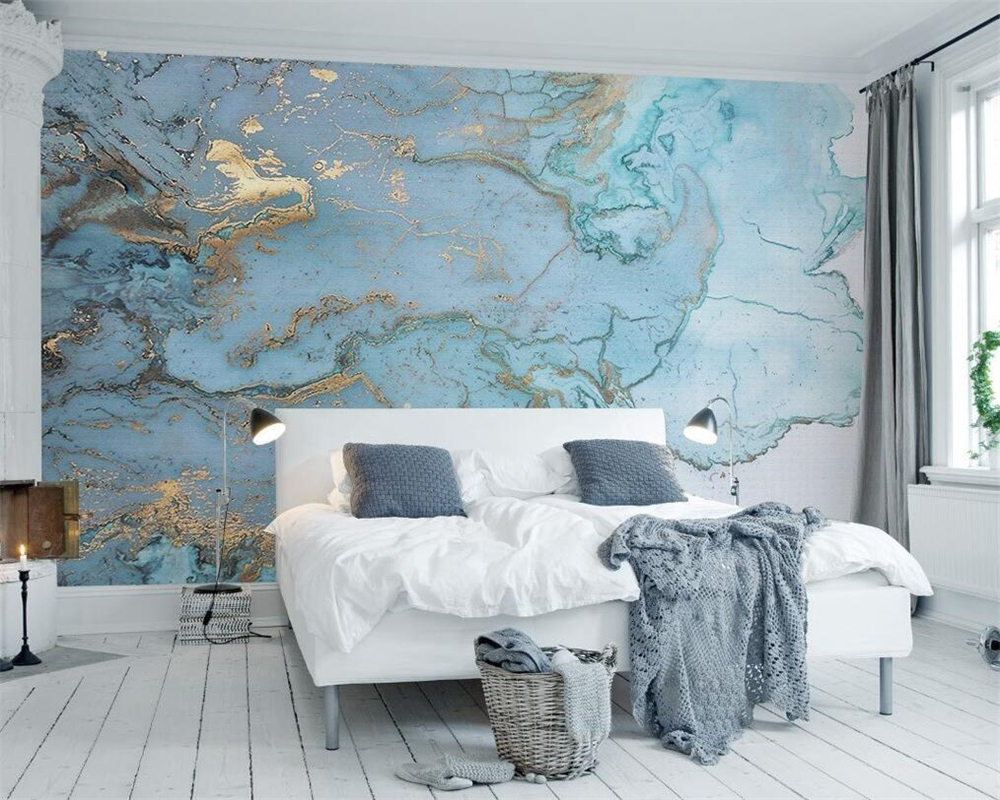 Living room wallpaper texture - Beibehang Custom Any Size Photo Wallpaper Large Fresco Wallpapers Living Room Tv Elegant Light Blue Texture 3d Fresco Wallpaper In Wallpapers From Home