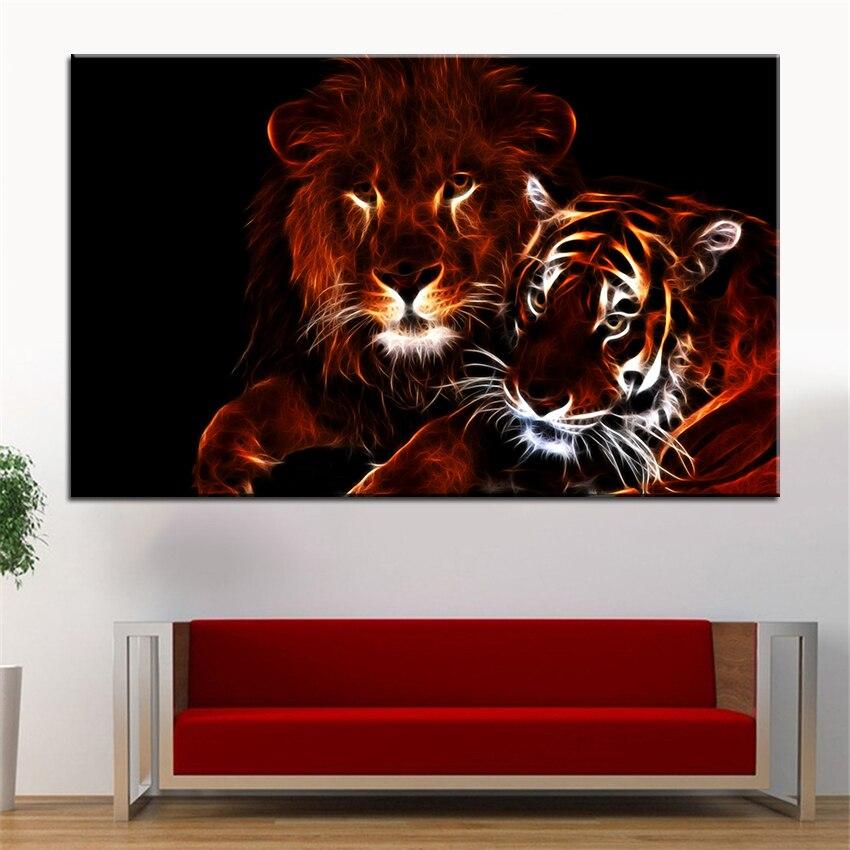 Grande Taille Impression Peinture à L Huile Lumineux Lion
