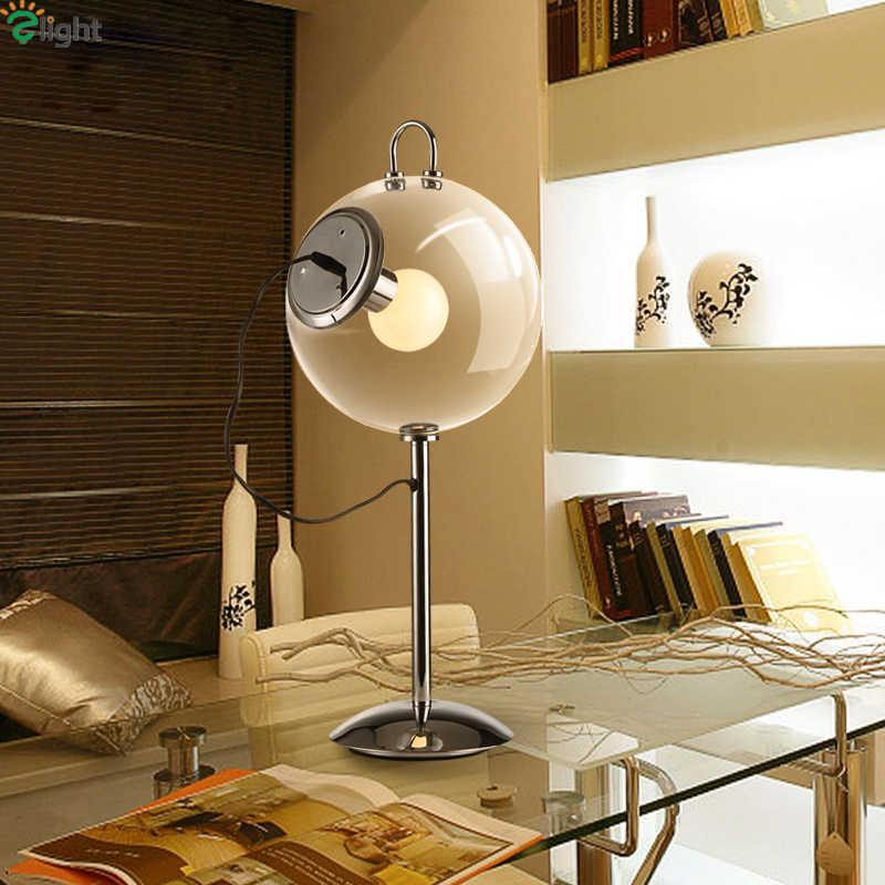 Nordic простой прозрачный стеклянный шар E27 Led Настольная лампа Блеск хромированный металл Спальня настольная Светодиодная лампа Led Настольная лампа освещение, осветительный прибор