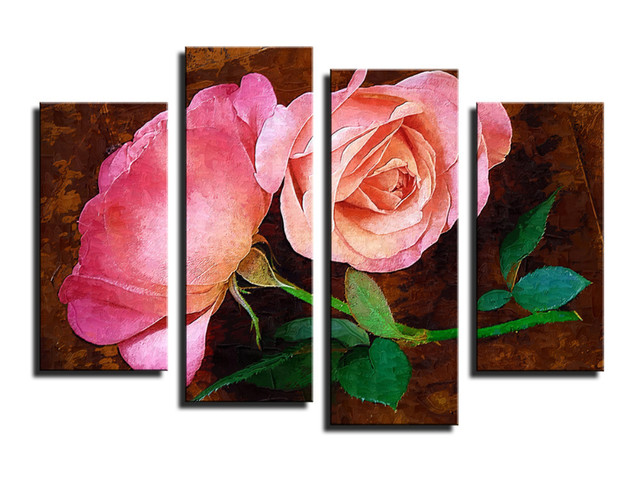 2017 4 Pieces Pink Rose Flowers Wall Painting Modern Home Wall ...