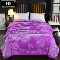 Purple Crown Diamond Pattern Embossed Raschel Blanket Double Layer Super Soft Weighted Blanket Warm Adult Bed Cover 4.8 Kg
