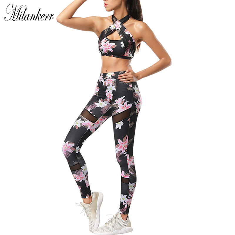 2018 Floral Printed Womens Yoga Sets Mesh Splicing Running Suit Sports Bra Leggings Suits Sexy Fitness Tops+Pants Gym Tracksuit